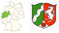 The location of NRW in Germany (left) and the state emblem of the state (right).