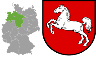 Lower Saxony's location in Germany (left) and its coat of arms (right).