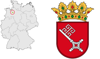 Location of Bremen in Germany (left with the red circle around it) and the state coat of arms (right).