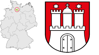 Location of Hamburg in Germany (left, with a red circle around it) and the state coat of arms (right).
