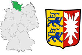 Schleswig-Holstein's location in Germany (left) and its coat of arms (right).