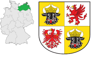 Mecklenburg-Western Pomerania's location in Germany (left) and its coat of arms (right).
