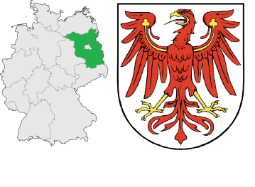 Brandenburg's location in Germany (left) and its coat of arms (right).