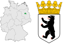 Location of Berlin in Germany (left) and the state coat of arms (right).