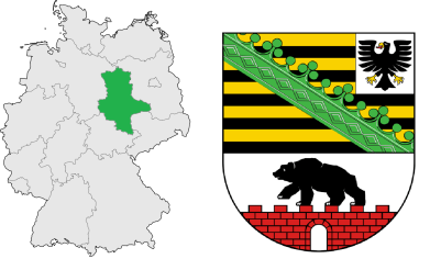 Saxony-Anhalt''s location in Germany (left) and its coat of arms (right).